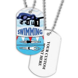 Personalized Swim Goggles Dog Tag w/ Print on Back