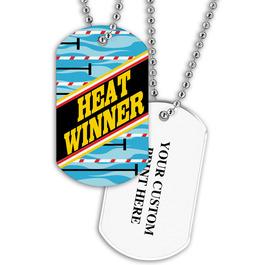 Personalized Swim Heat Winner Dog Tag w/ Print on Back