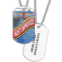 Personalized Swim Most Improved Dog Tag w/ Print on Back