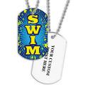 Personalized Swim Blue Dog Tag w/ Print on Back