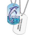 Personalized Swim Dolphin Dog Tag w/ Print on Back