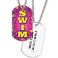 Personalized Swim Pink Dog Tag w/ Print on Back