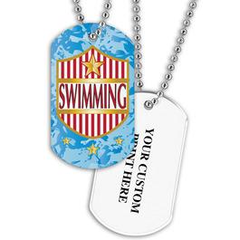 Personalized Swim Shield Dog Tag w/ Print on Back