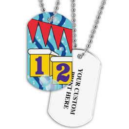 Personalized Swim Starting Blocks Dog Tag w/ Print on Back