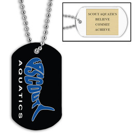 Custom Swimming Dog Tags w/ Engraved Plate