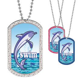 Full Color GEM Swim Dolphin Dog Tag