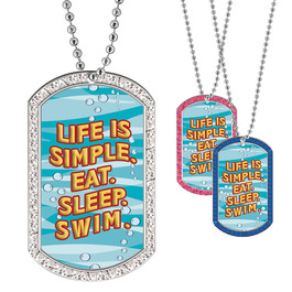 Full Color GEM Swim Simple Dog Tag