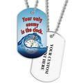 Personalized Swim Clock Dog Tag w Print on Back
