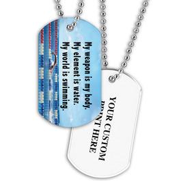 Swim World Dog Tag w Print on Back
