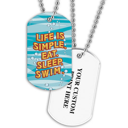 Personalized Swim Simple Dog Tag w/ Print on Back