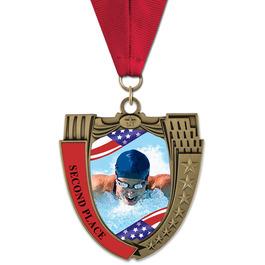 MS14 Mega Shield Swim Award Medal w/ Grosgrain Neck Ribbon