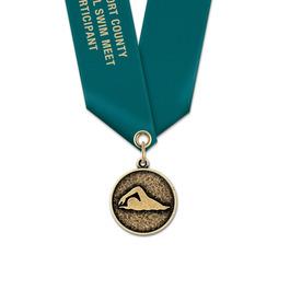 CX Swim Award Medal w/ Satin Neck Ribbon