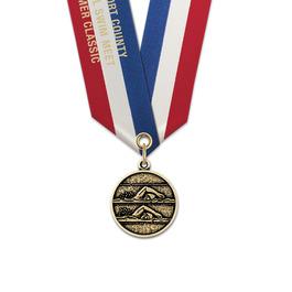 CX Swim Award Medal w/ Specialty Satin Neck Ribbon