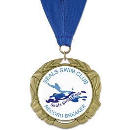 XBX Swim Award Medal w/ Grosgrain Neck Ribbon