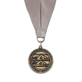 MX Swim Award Medal w/ Grosgrain Neck Ribbon