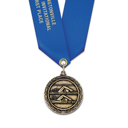 MX Swim Award Medal w/ Satin Neck Ribbon