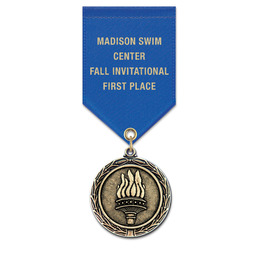 MX Swim Award Medal w/ Satin Drape Ribbon