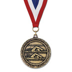 LX Swim Award Medal w/ Red/White/Blue or Year Grosgrain Neck Ribbon