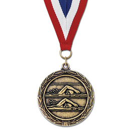 LX Swim Award Medal w/ Red/White/Blue or Year Grosgrain Neck Ribbon