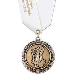 LX Swim Award Medal w/ Satin Neck Ribbon - OUR MOST POPULAR MEDAL