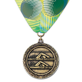 LX Swim Award Medal w/ Custom Millennium Neck Ribbon