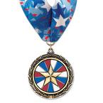 LXC Color Fill Swim Award Medal w/ Millennium Neck Ribbon