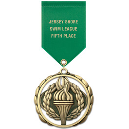 ES Swim Award Medal w/ Satin Drape Ribbon