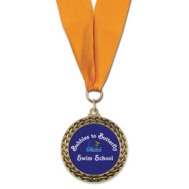 LFL Swim Award Medal w/ Grosgrain Neck Ribbon