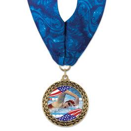 LFL Swim Award Medal w/ Millennium Neck Ribbon