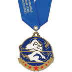 Superstar Swim Award Medal w/ Satin Neck Ribbon