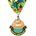 Stock Superstar Birthday Medal w/ Full Color Millennium Celebrate Neck Ribbon