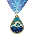 Superstar Swim Award Medal w/ Custom Millennium Neck Ribbon