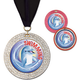 GEM Swim Award Medal w/ Grosgrain Neck Ribbon
