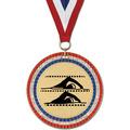 RWB GEM Swim Award Medal w/ Red/White/Blue or Year Grosgrain Neck Ribbon