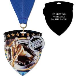 CSM Shield Swim Award Medal w/ Grosgrain Neck Ribbon - ENGRAVED
