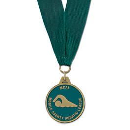 HM Swim Award Medal w/ Grosgrain Neck Ribbon