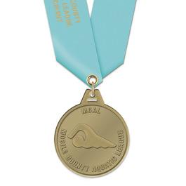HG Swim Award Medal w/ Satin Neck Ribbon