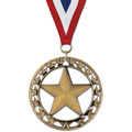 Rising Star Swim Award Medal with Red/White/Blue or Year Grosgrain Neck Ribbon