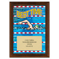 Best Time Swimming Award Plaque - Cherry Finish