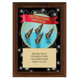 Synchronized Swimming Award Plaque - Cherry Finish