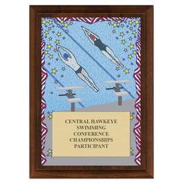 Swim Stars Award Plaque - Cherry Finish