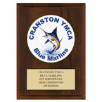 Custom Full Color Swimming Award Plaque - Cherry Finish
