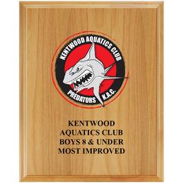 Full Color Red Alder Swimming Award Plaque