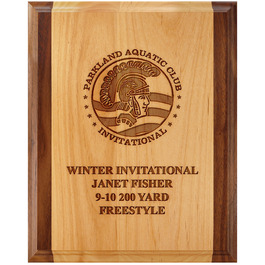 Engraved Red Alder and Walnut Swimming Award Plaque