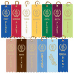 Stock Victory Torch Square Top Swimming Award Ribbon