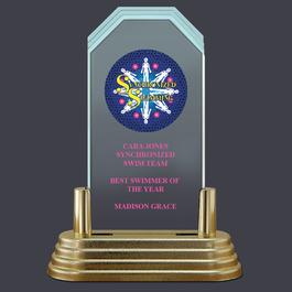 Pop-In™ Jade Acrylic Swimming Award Trophy w/ Pedestal Base
