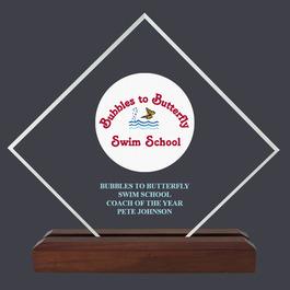 Diamond Acrylic Swimming Award Trophy w/ Walnut Base