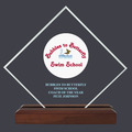 Diamond Acrylic Swimming Award Trophy w/ Walnut Base