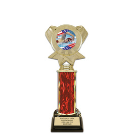 "10"" Black HS Base Swimming Award Trophy w/ Insert Top"