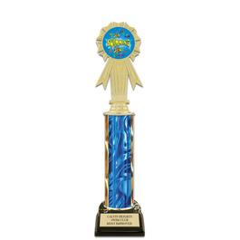 "12"" Black HS Base Swimming Award Trophy w/ Insert Top"
